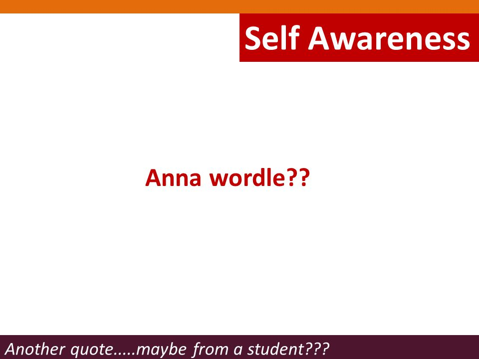 Anna wordle Another quote.....maybe from a student Self Awareness