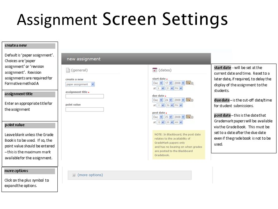 Assignment Screen Settings