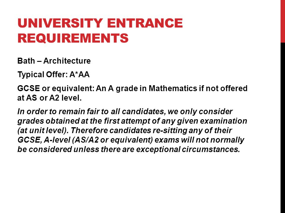 UNIVERSITY ENTRANCE REQUIREMENTS Bath – Architecture Typical Offer: A*AA GCSE or equivalent: An A grade in Mathematics if not offered at AS or A2 leve
