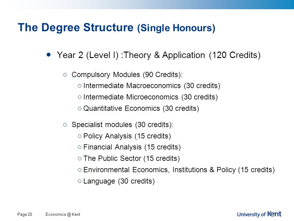 Economics @ KentPage 20 The Degree Structure (Single Honours) Year 2 (Level I) :Theory & Application (120 Credits) o Compulsory Modules (90 Credits): o Intermediate Macroeconomics (30 credits) o Intermediate Microeconomics (30 credits) o Quantitative Economics (30 credits) o Specialist modules (30 credits): o Policy Analysis (15 credits) o Financial Analysis (15 credits) o The Public Sector (15 credits) o Environmental Economics, Institutions & Policy (15 credits) o Language (30 credits)