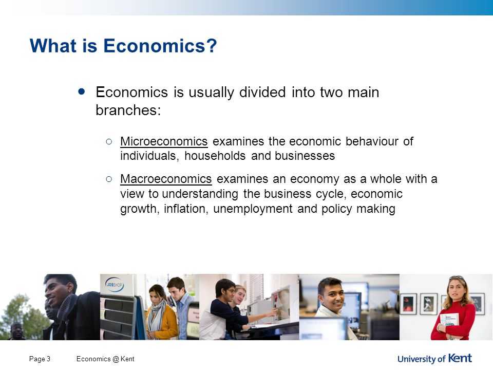 Economics @ KentPage 3 What is Economics? Economics is usually divided into two main branches: o Microeconomics examines the economic behaviour of ind