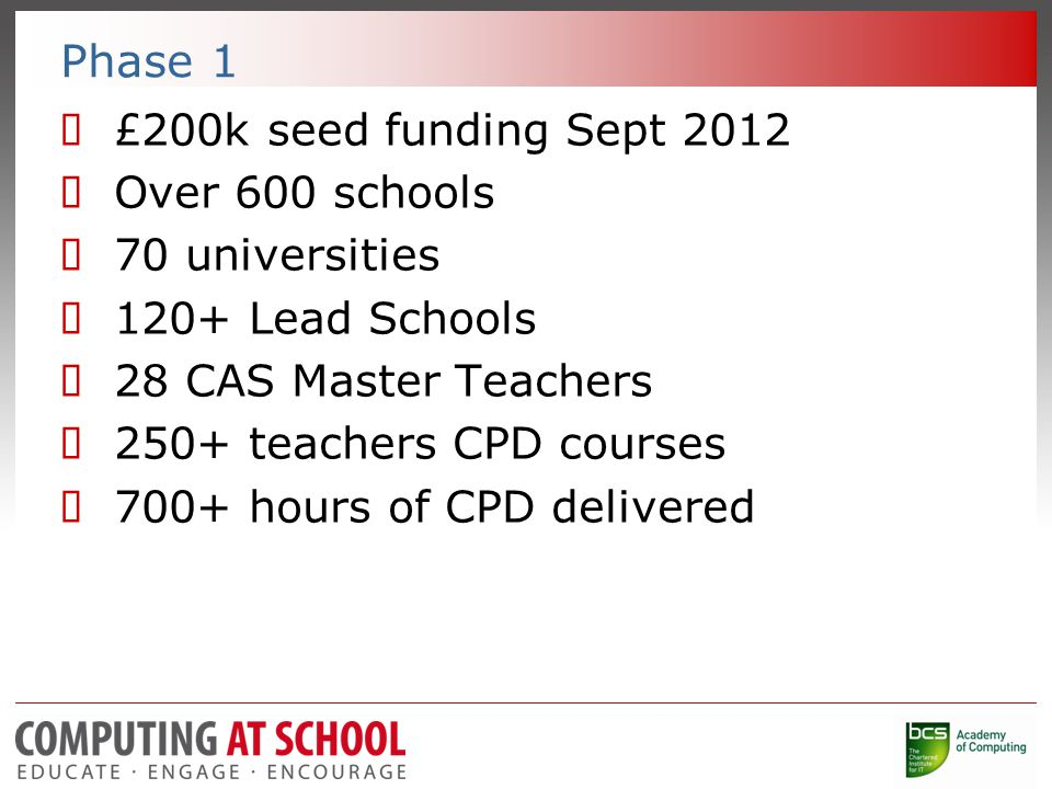 Phase 1  £200k seed funding Sept 2012  Over 600 schools  70 universities  120+ Lead Schools  28 CAS Master Teachers  250+ teachers CPD courses  700+ hours of CPD delivered