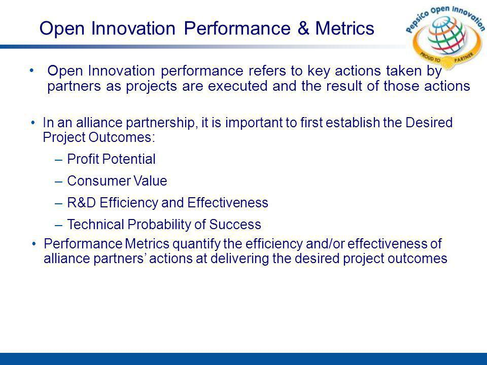 Keys to Good Performance Metrics Metrics should be selected based on desired project outcomes and stage of the OI model or innovation cycle Metrics should give you enough information to guide project direction and make informed decisions Metrics should help you assess the degree to which project outcomes are being achieved Measure only what is valued and important Reward the use of Metrics