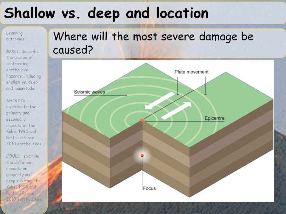 Shallow vs. deep and location Learning outcomes: MUST: describe the causes of contrasting earthquake hazards, including shallow vs. deep and magnitude