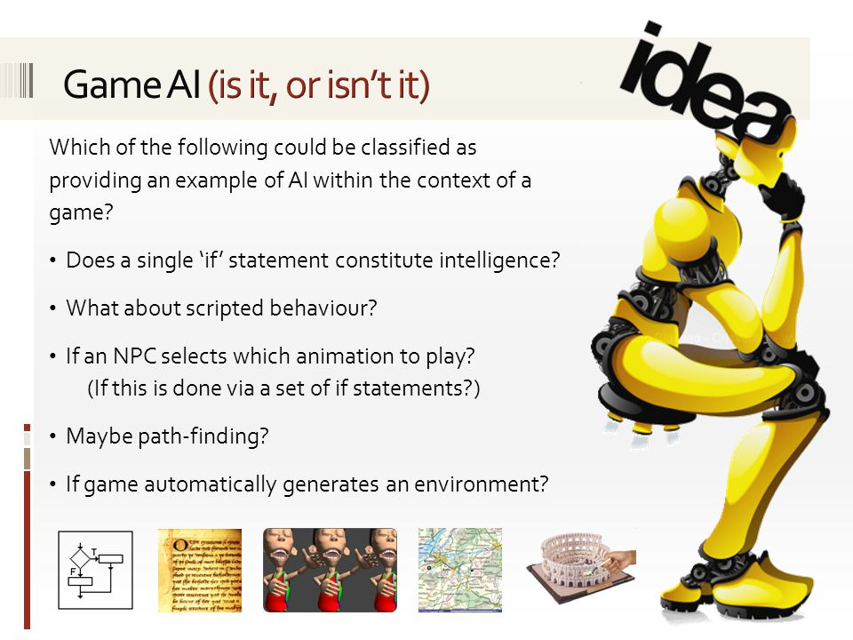 Which of the following could be classified as providing an example of AI within the context of a game.