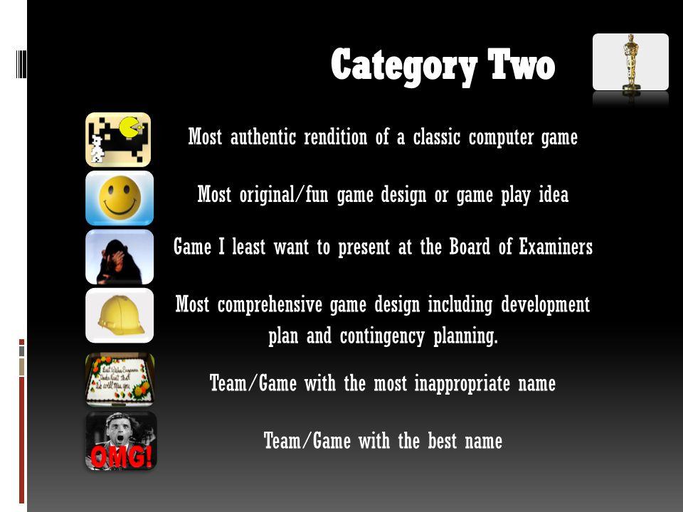 Category Team members Team name – Game name