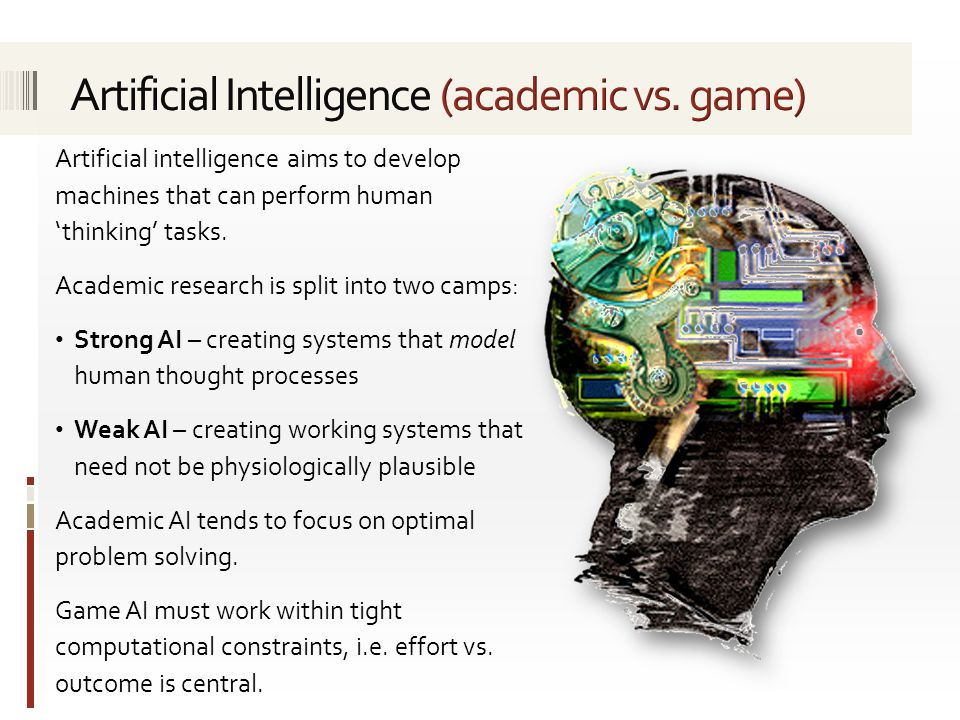 The aims of game-oriented AI can be summarised as follows.