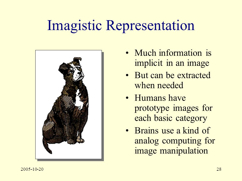 2005-10-2028 Imagistic Representation Much information is implicit in an image But can be extracted when needed Humans have prototype images for each basic category Brains use a kind of analog computing for image manipulation