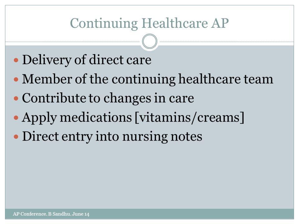 Continuing Healthcare AP AP Conference. B Sandhu.