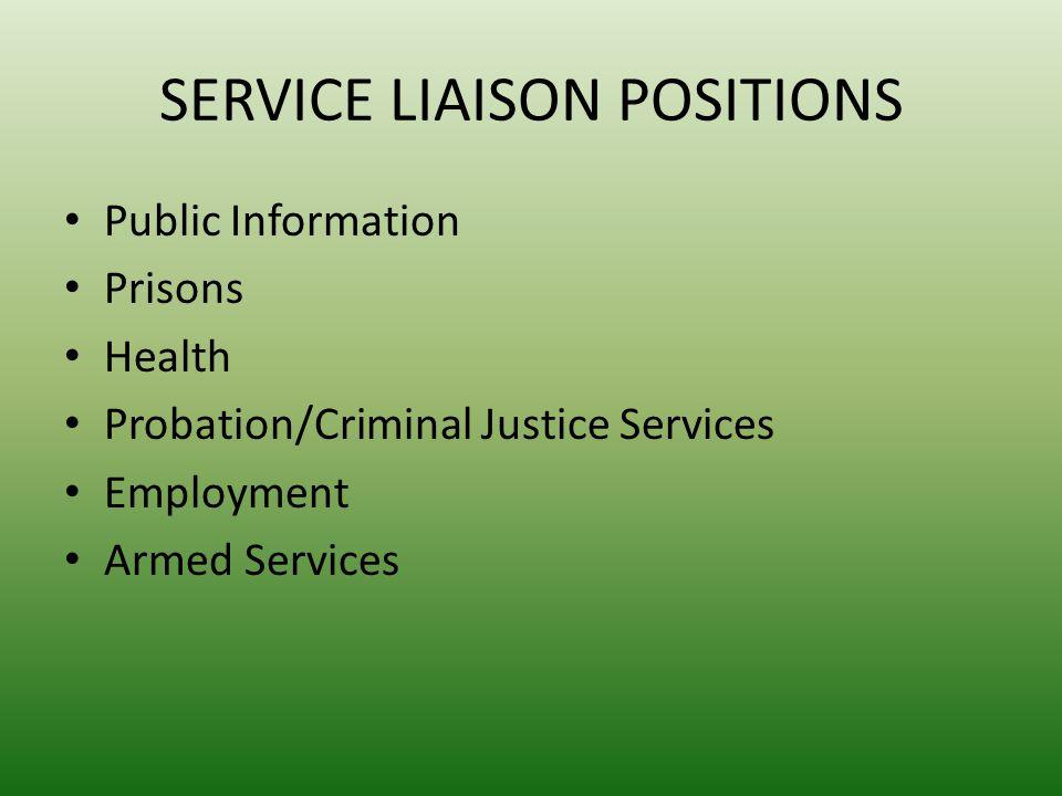 SERVICE LIAISON POSITIONS Public Information Prisons Health Probation/Criminal Justice Services Employment Armed Services