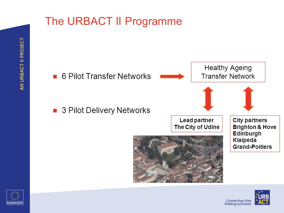 The URBACT II Programme 6 Pilot Transfer Networks 3 Pilot Delivery Networks Healthy Ageing Transfer Network Lead partner The City of Udine City partners Brighton & Hove Edinburgh Klaipeda Grand-Poitiers