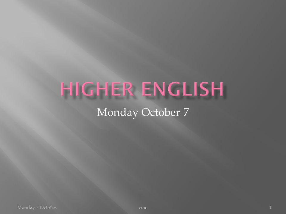 Monday October 7 cmc1Monday 7 October