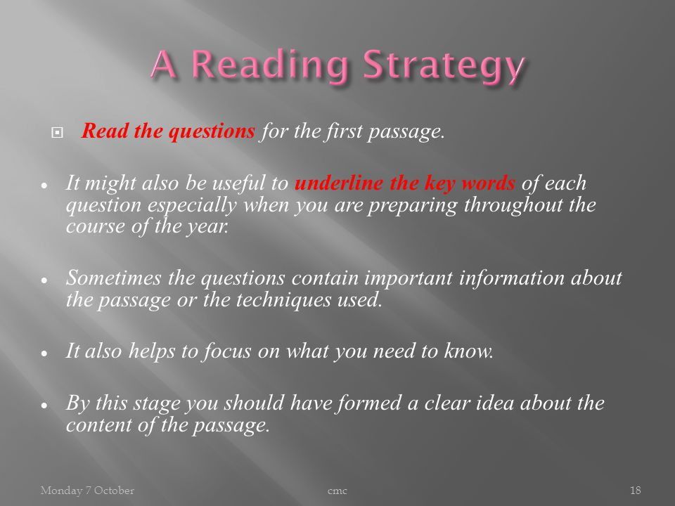  Read the questions for the first passage.