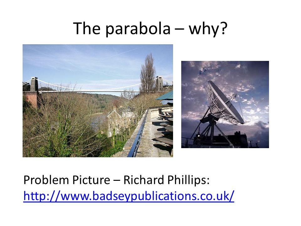 The parabola – why Problem Picture – Richard Phillips: http://www.badseypublications.co.uk/