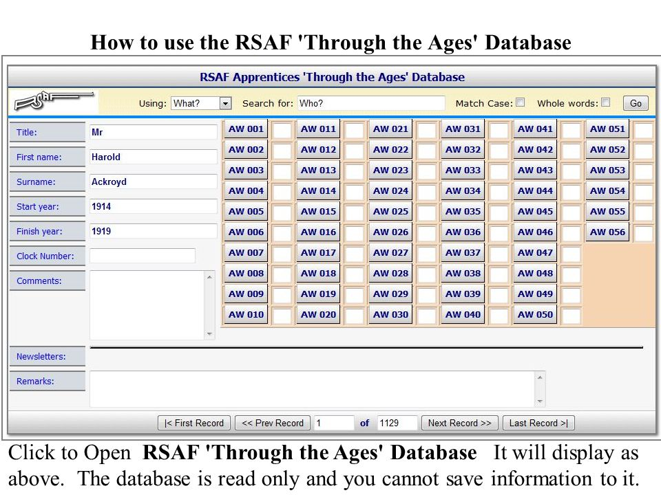 How to use the RSAF Through the Ages Database Click to Open RSAF Through the Ages Database It will display as above.