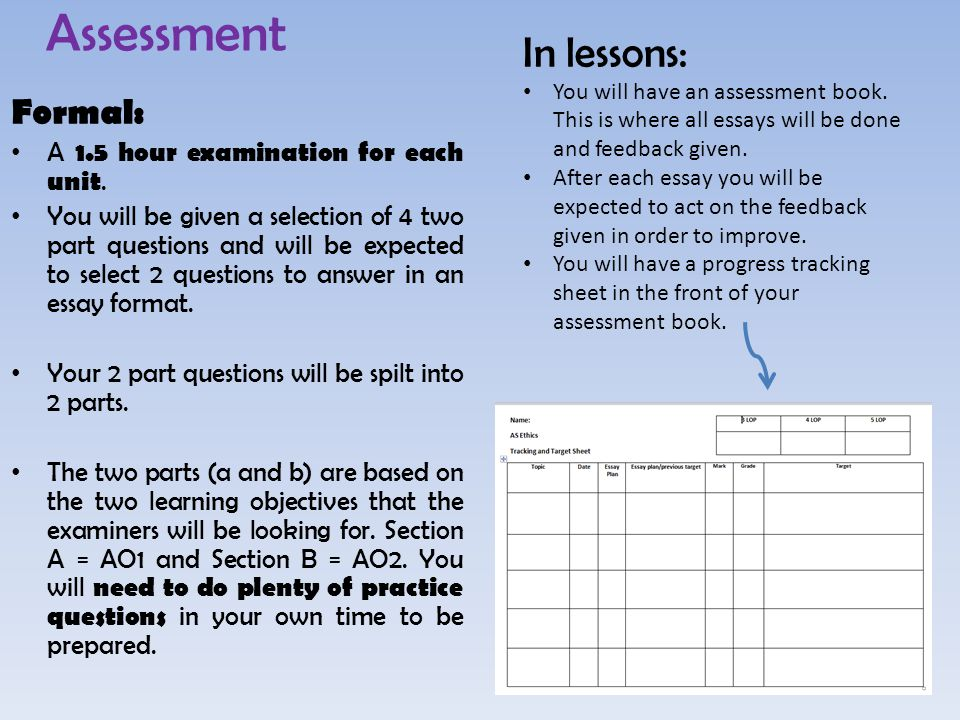 Assessment Formal: A 1.5 hour examination for each unit.