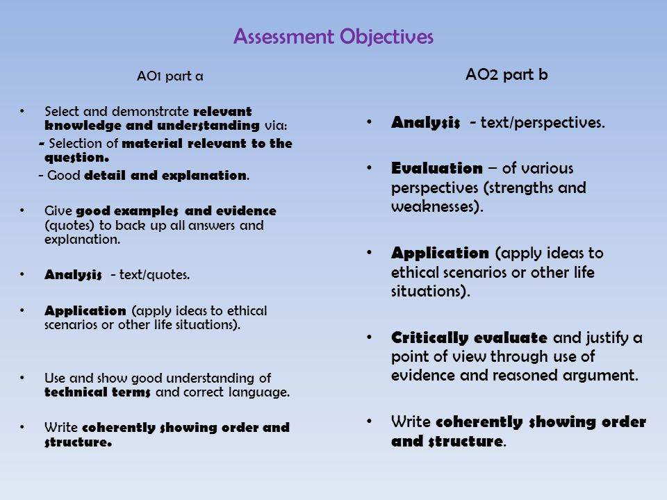 Assessment Objectives AO1 part a Select and demonstrate relevant knowledge and understanding via: - Selection of material relevant to the question.
