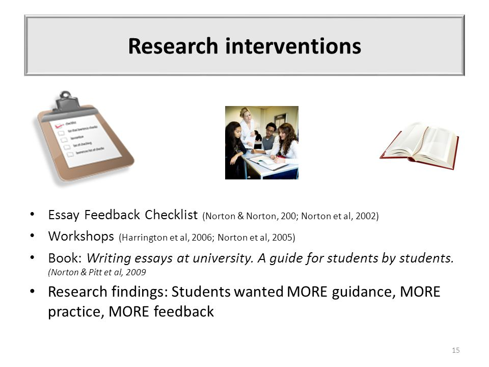 Research interventions Essay Feedback Checklist (Norton & Norton, 200; Norton et al, 2002) Workshops (Harrington et al, 2006; Norton et al, 2005) Book: Writing essays at university.