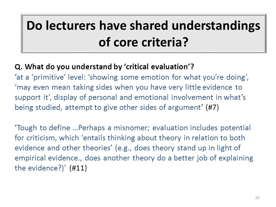 16 Do lecturers have shared understandings of core criteria.
