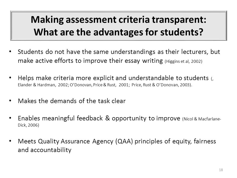 Making assessment criteria transparent: What are the advantages for students.