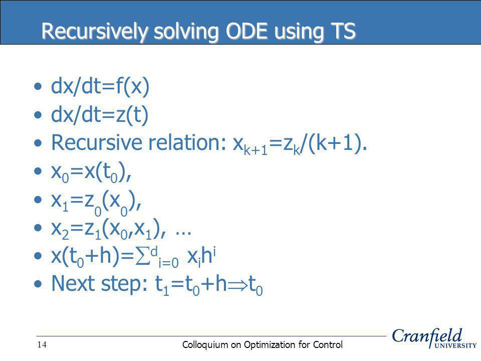 Colloquium on Optimization for Control14 Recursively solving ODE using TS dx/dt=f(x) dx/dt=z(t) Recursive relation: x k+1 =z k /(k+1).