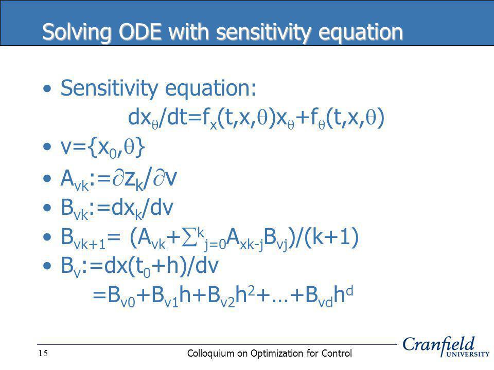 Colloquium on Optimization for Control15 Solving ODE with sensitivity equation Sensitivity equation: dx  /dt=f x (t,x,  )x  +f  (t,x,  ) v={x 0,  } A vk :=  z k /  v B vk :=dx k /dv B vk+1 = (A vk +  k j=0 A xk-j B vj )/(k+1) B v :=dx(t 0 +h)/dv =B v0 +B v1 h+B v2 h 2 +…+B vd h d