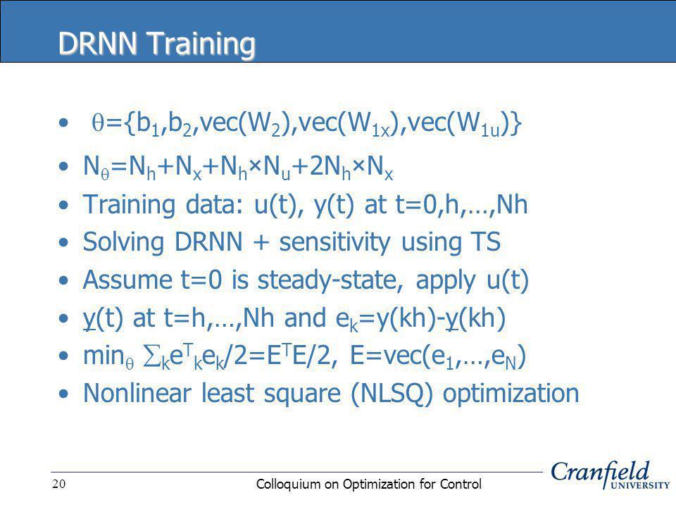 Colloquium on Optimization for Control20 DRNN Training  ={b 1,b 2,vec(W 2 ),vec(W 1x ),vec(W 1u )} N  =N h +N x +N h × N u +2N h × N x Training data: u(t), y(t) at t=0,h,…,Nh Solving DRNN + sensitivity using TS Assume t=0 is steady-state, apply u(t) y(t) at t=h,…,Nh and e k =y(kh)-y(kh) min   k e T k e k /2=E T E/2, E=vec(e 1,…,e N ) Nonlinear least square (NLSQ) optimization