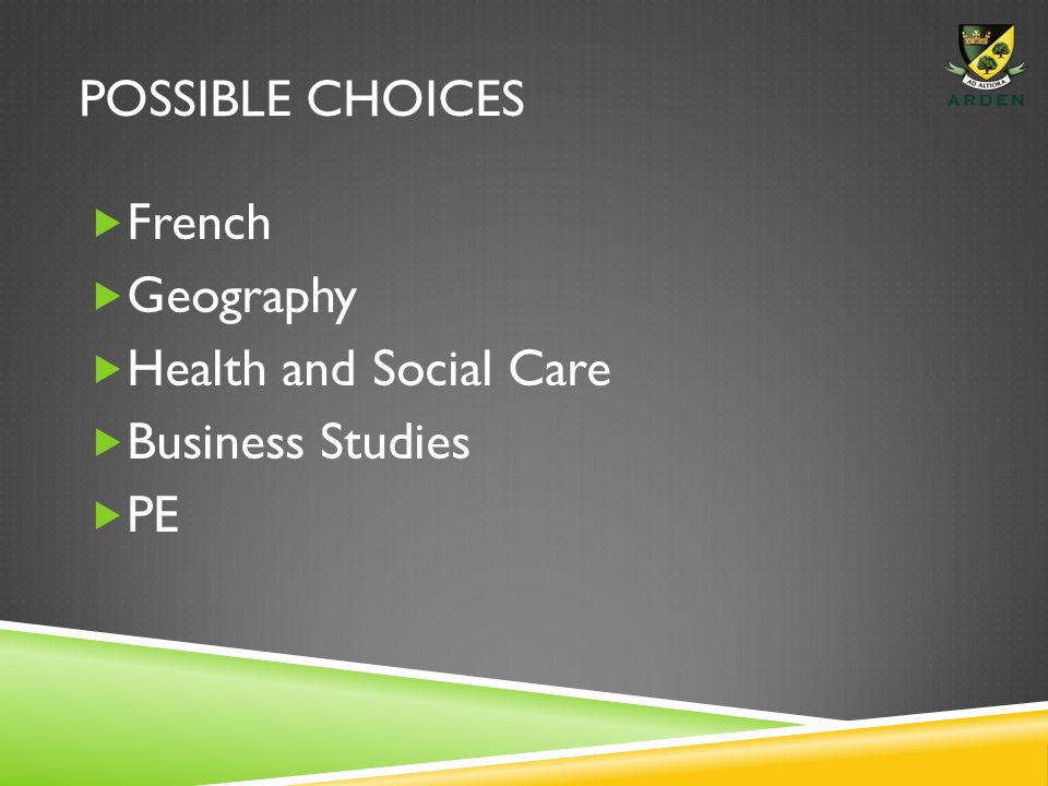 POSSIBLE CHOICES  French  Geography  Health and Social Care  Business Studies  PE