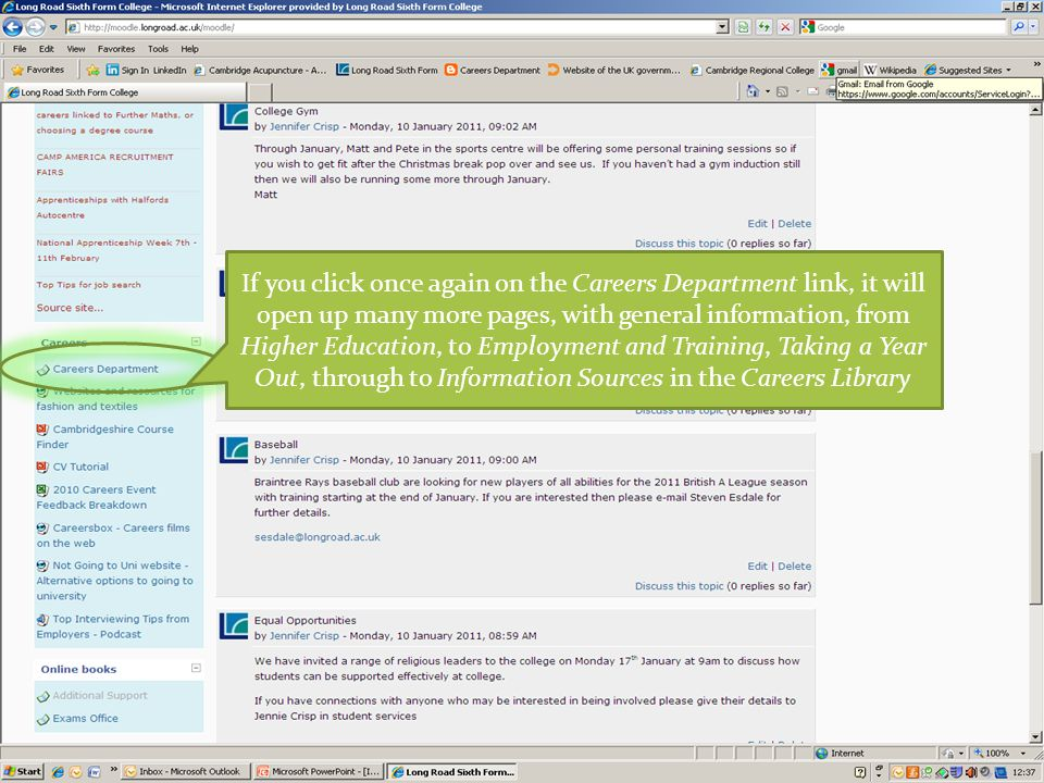 If you click once again on the Careers Department link, it will open up many more pages, with general information, from Higher Education, to Employment and Training, Taking a Year Out, through to Information Sources in the Careers Library
