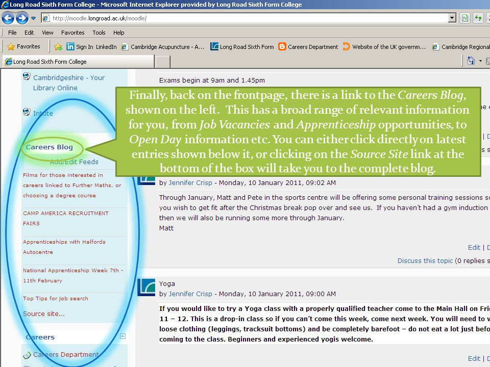 Finally, back on the frontpage, there is a link to the Careers Blog, shown on the left.