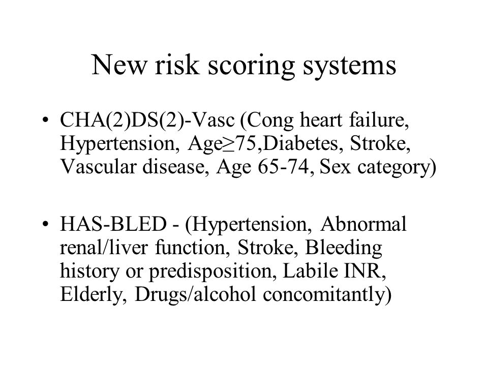 New risk scoring systems CHA(2)DS(2)-Vasc (Cong heart failure, Hypertension, Age≥75,Diabetes, Stroke, Vascular disease, Age 65-74, Sex category) HAS-B