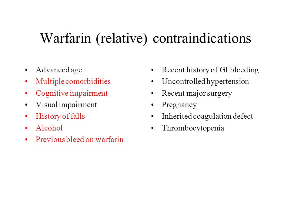 Warfarin (relative) contraindications Advanced age Multiple comorbidities Cognitive impairment Visual impairment History of falls Alcohol Previous ble