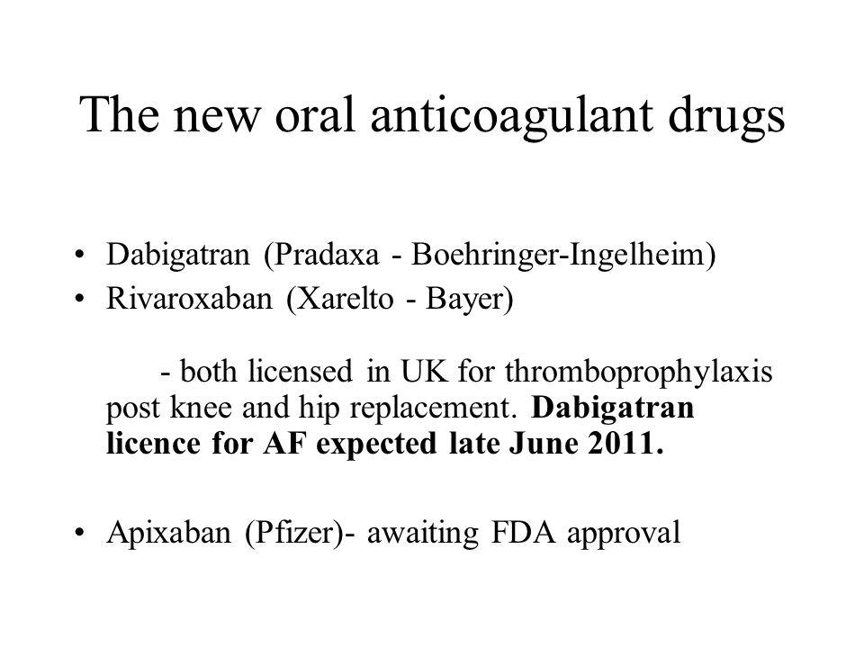 The new oral anticoagulant drugs Dabigatran (Pradaxa - Boehringer-Ingelheim) Rivaroxaban (Xarelto - Bayer) - both licensed in UK for thromboprophylaxis post knee and hip replacement.
