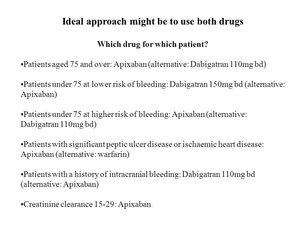 Ideal approach might be to use both drugs Which drug for which patient.