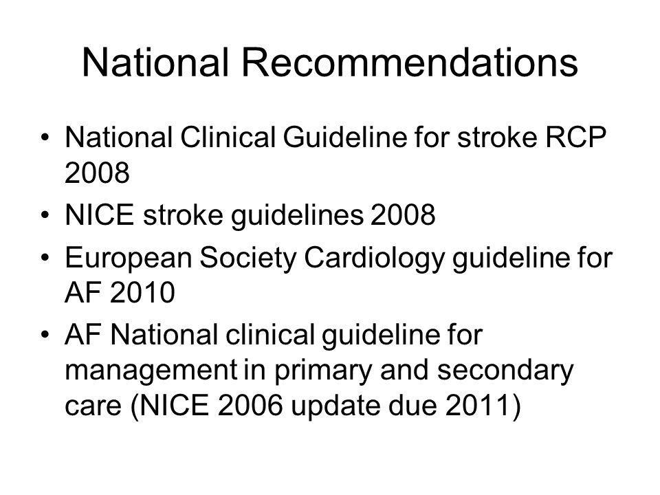 National Recommendations National Clinical Guideline for stroke RCP 2008 NICE stroke guidelines 2008 European Society Cardiology guideline for AF 2010 AF National clinical guideline for management in primary and secondary care (NICE 2006 update due 2011)