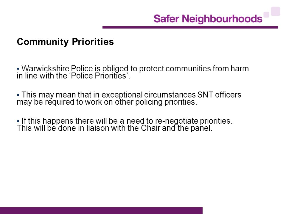 Community Priorities Warwickshire Police is obliged to protect communities from harm in line with the 'Police Priorities'.