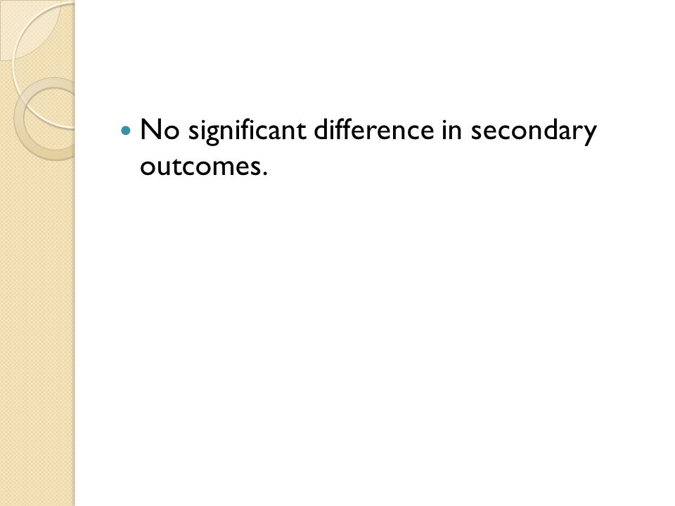 No significant difference in secondary outcomes.