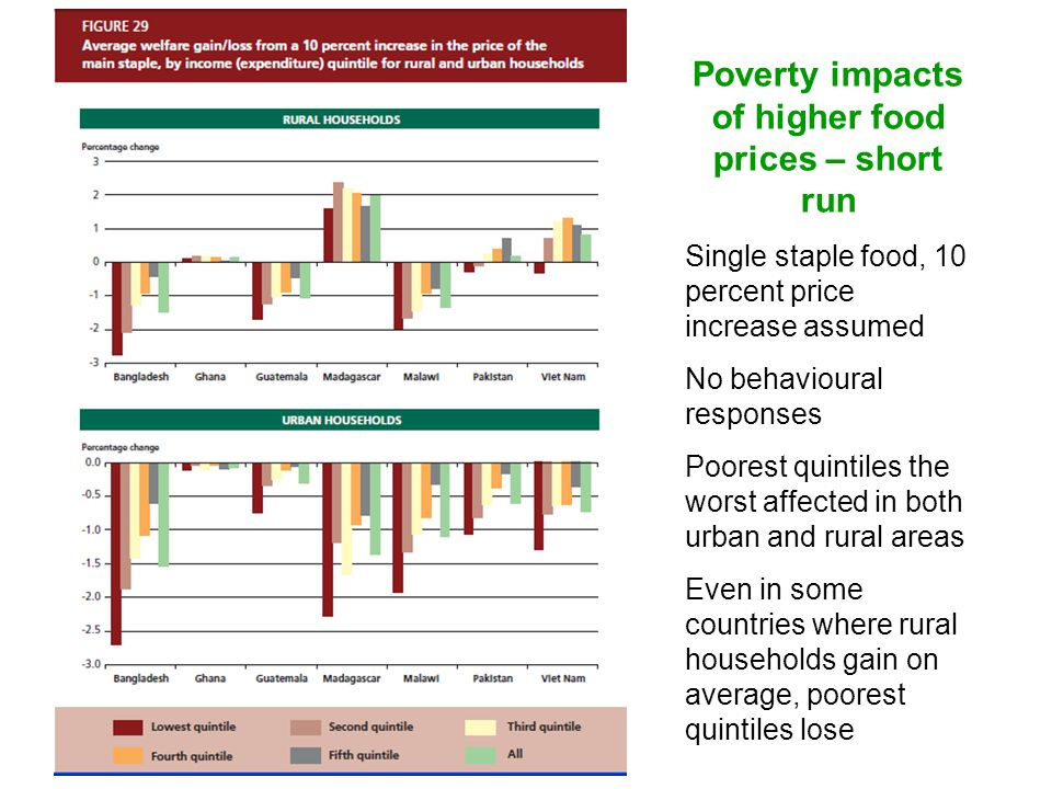 Poverty impacts of higher food prices – short run Single staple food, 10 percent price increase assumed No behavioural responses Poorest quintiles the worst affected in both urban and rural areas Even in some countries where rural households gain on average, poorest quintiles lose