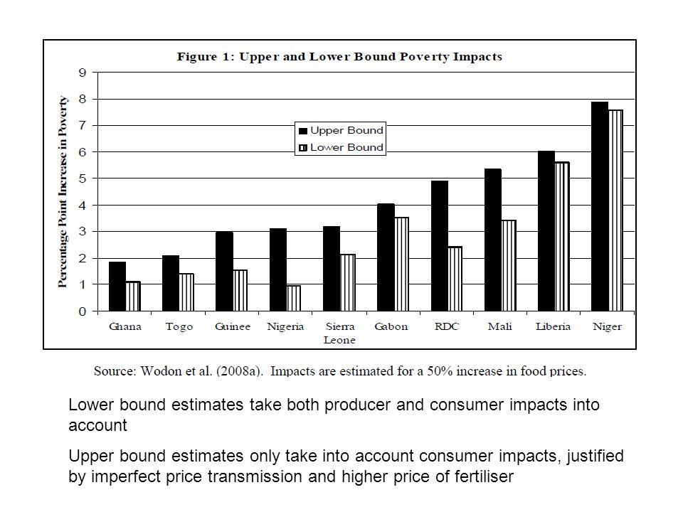 Lower bound estimates take both producer and consumer impacts into account Upper bound estimates only take into account consumer impacts, justified by imperfect price transmission and higher price of fertiliser
