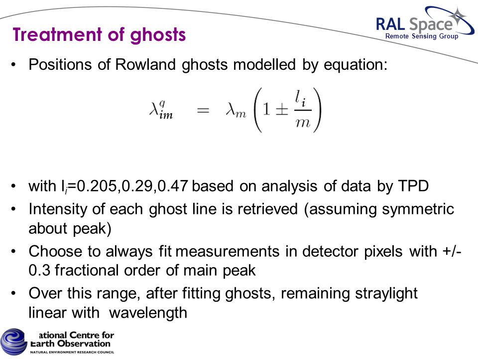 Remote Sensing Group Treatment of ghosts Positions of Rowland ghosts modelled by equation: with l i =0.205,0.29,0.47 based on analysis of data by TPD