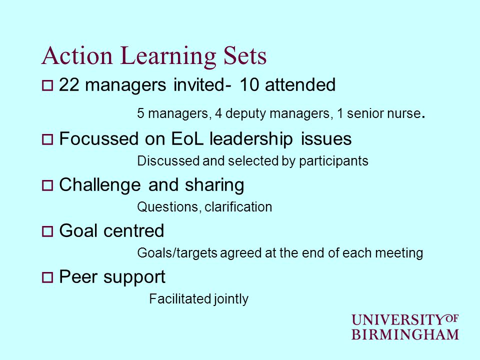 Action Learning Sets  22 managers invited- 10 attended 5 managers, 4 deputy managers, 1 senior nurse.