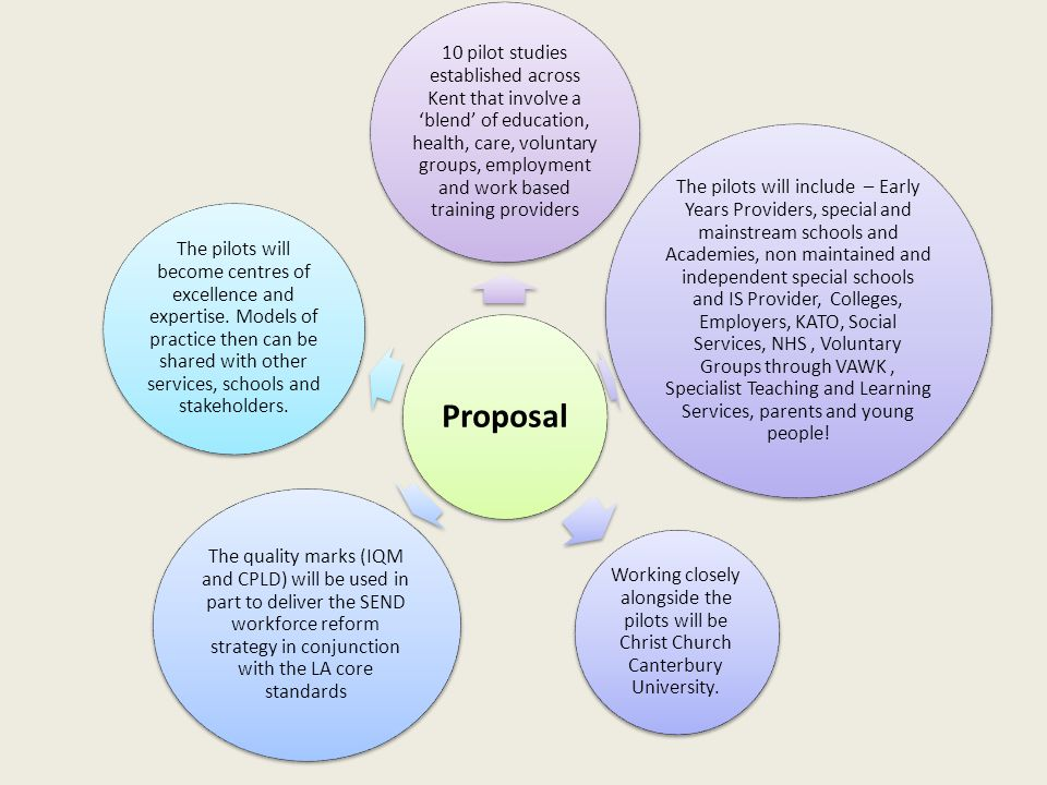 Proposal 10 pilot studies established across Kent that involve a 'blend' of education, health, care, voluntary groups, employment and work based training providers The pilots will include – Early Years Providers, special and mainstream schools and Academies, non maintained and independent special schools and IS Provider, Colleges, Employers, KATO, Social Services, NHS, Voluntary Groups through VAWK, Specialist Teaching and Learning Services, parents and young people.