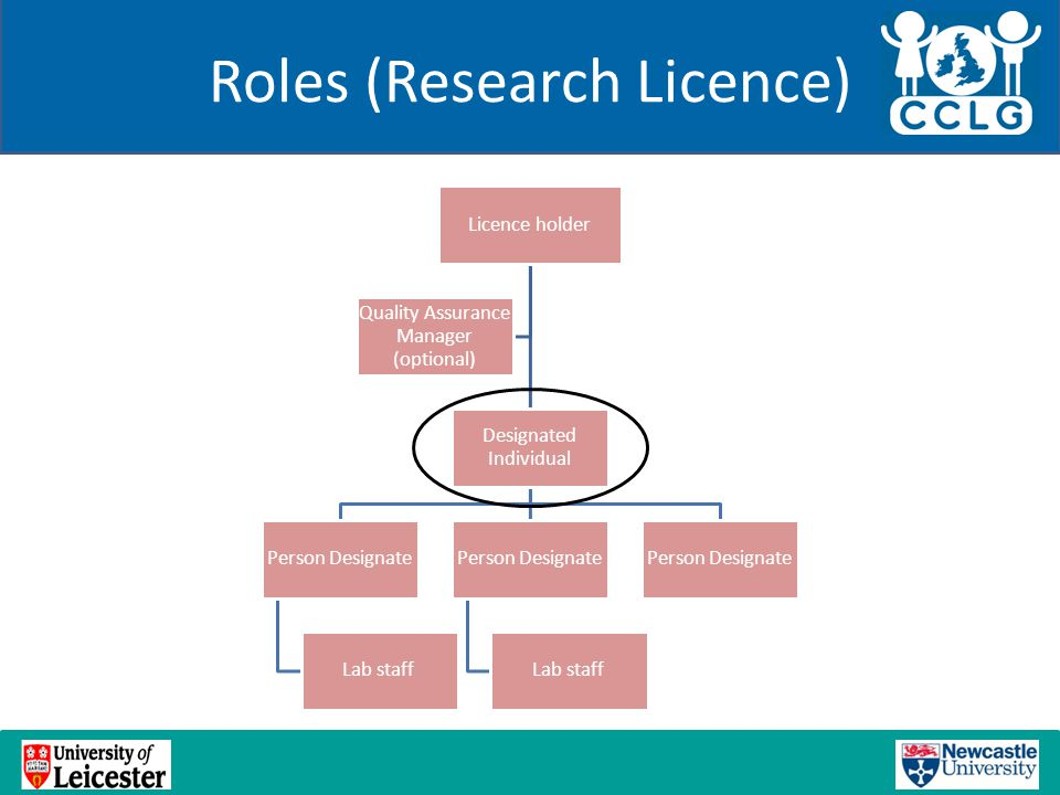 Roles (Research Licence) Licence holder Designated Individual Person Designate Lab staff Person Designate Lab staff Person Designate Quality Assurance Manager (optional)