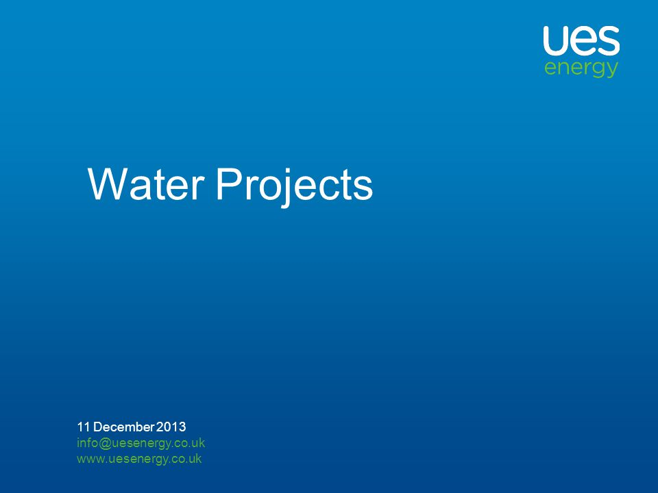 Water Projects 11 December 2013
