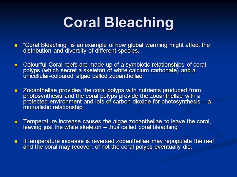 """Coral Bleaching """"Coral Bleaching"""" is an example of how global warming might affect the distribution and diversity of different species. """"Coral Bleachi"""