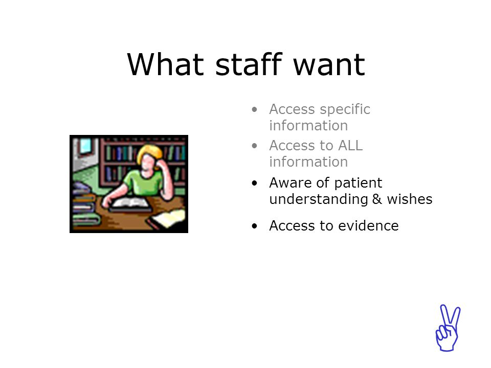 ABCABC What staff want Aware of patient understanding & wishes Access to evidence Access specific information Access to ALL information