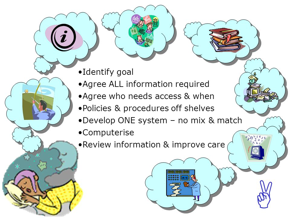 ABCABC Identify goal Agree ALL information required Agree who needs access & when Policies & procedures off shelves Develop ONE system – no mix & match Computerise Review information & improve care