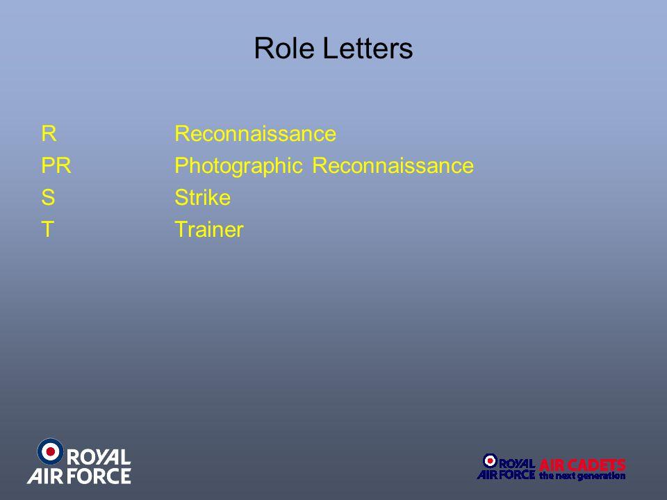 Role Letters R Reconnaissance PR Photographic Reconnaissance S Strike T Trainer