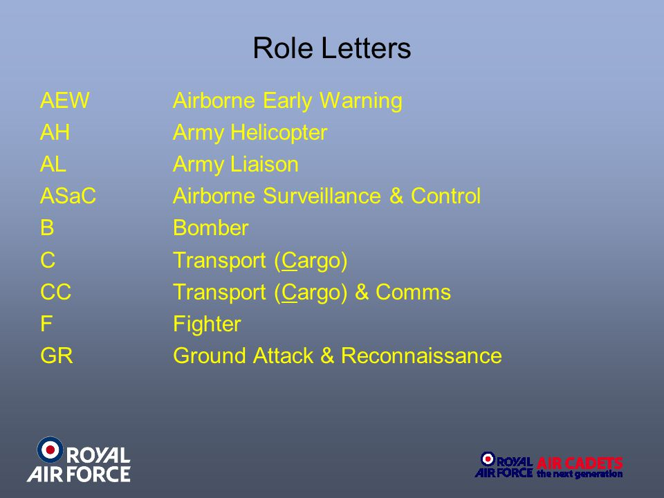 Role Letters AEW Airborne Early Warning AHArmy Helicopter ALArmy Liaison ASaCAirborne Surveillance & Control B Bomber C Transport (Cargo) CCTransport (Cargo) & Comms F Fighter GRGround Attack & Reconnaissance
