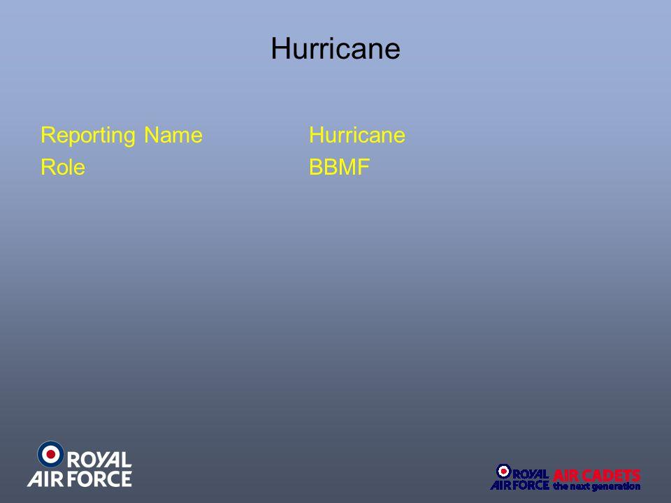 Hurricane Reporting NameHurricane RoleBBMF